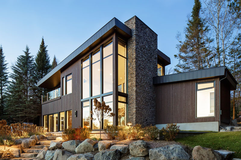 This Modern Lake House In Canada Has An Exterior Clad Wood Stone And Metal