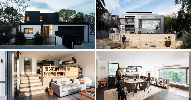this multi-level house in sydney is located on a steep site with a