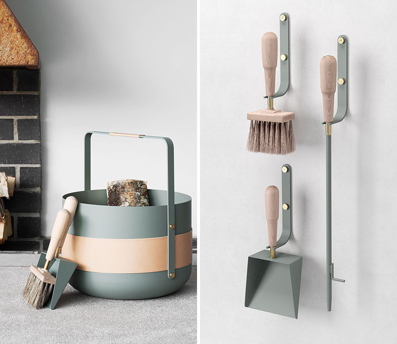 These new contemporary Scandinavian fireplace accessories are designed with beauty, simplicity, and form in mind
