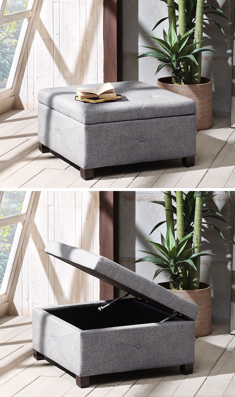 Living Room Ideas On A Budget // Invest In Multipurpose Furniture - this ottoman has storage hidden within.
