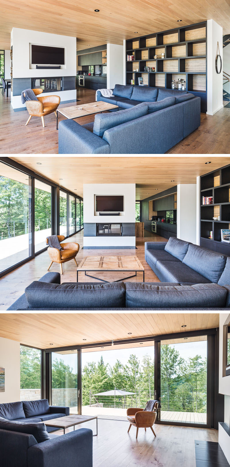 In this contemporary living room, there's a double-sided fireplace with a custom-designed cut-out for the television, and next to the couch is a floor-to-ceiling bookshelf.