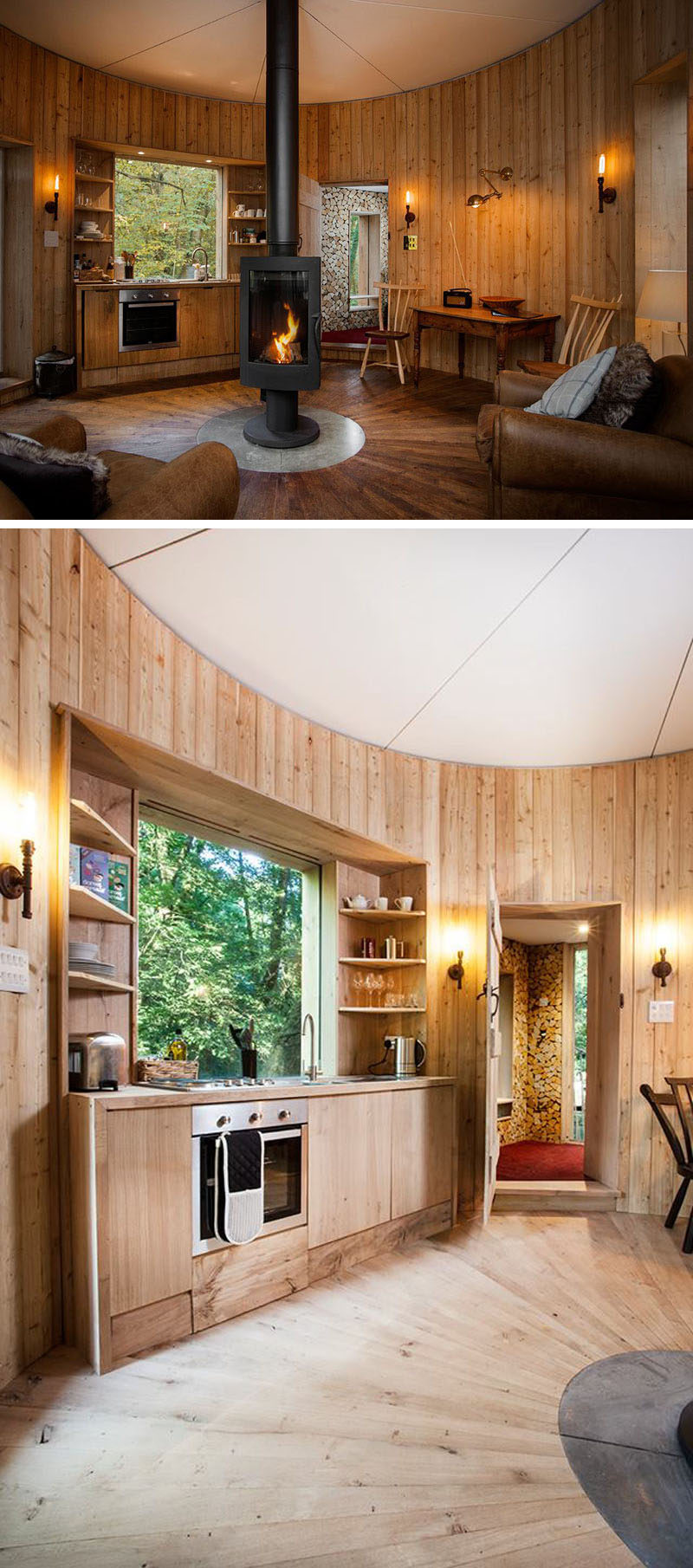 This Modern Treehouse Has A Living Area With A Central Fireplace,  Comfortable Seating And A