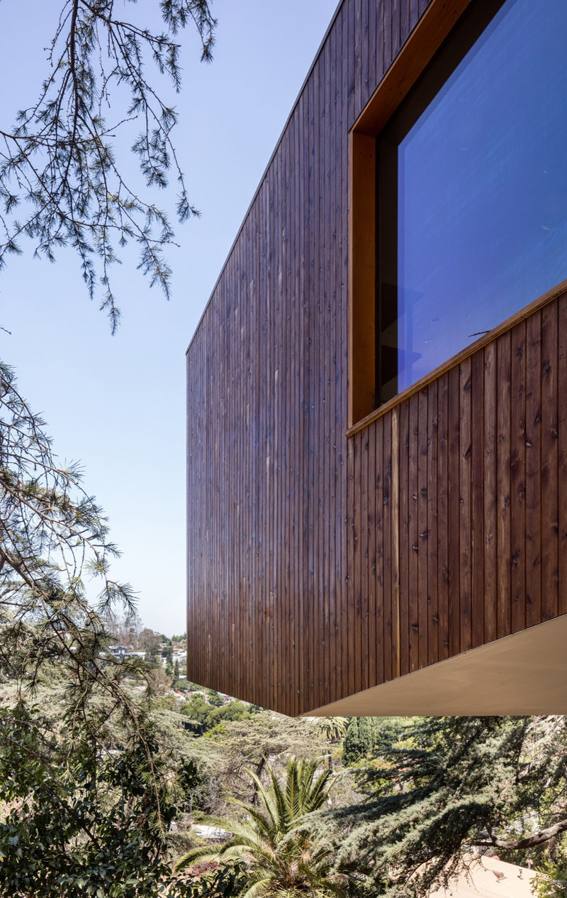 The architects cantilevered a section of this Los Angeles house to protect the native yard below.
