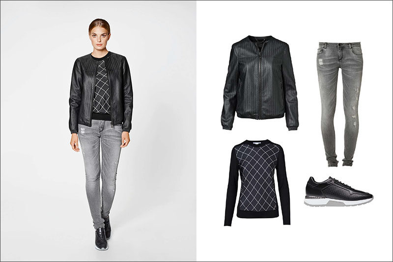 Women's Fashion Ideas - 12 Women's Outfits From Porsche Design's 2017 Spring/Summer Collection // This women's outfit has been made slightly edgier with a pair of ripped jeans, a knit sweater, a lightweight black jacket, and a pair of black, white, and grey sneakers.