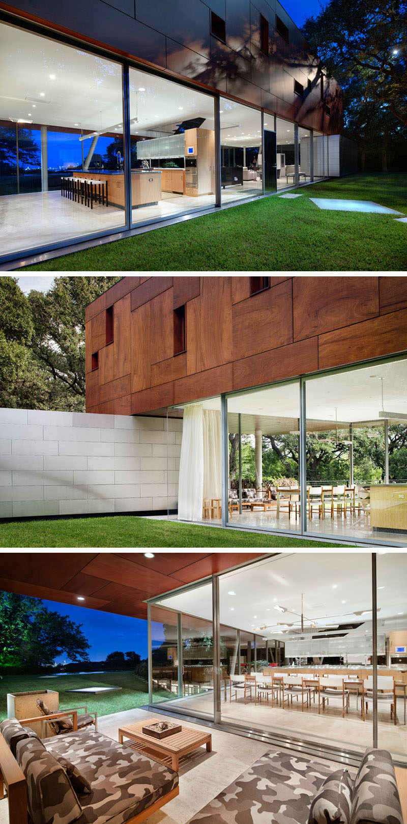 Glass walls surround the main living level of this home that features a covered outdoor patio with lounge.