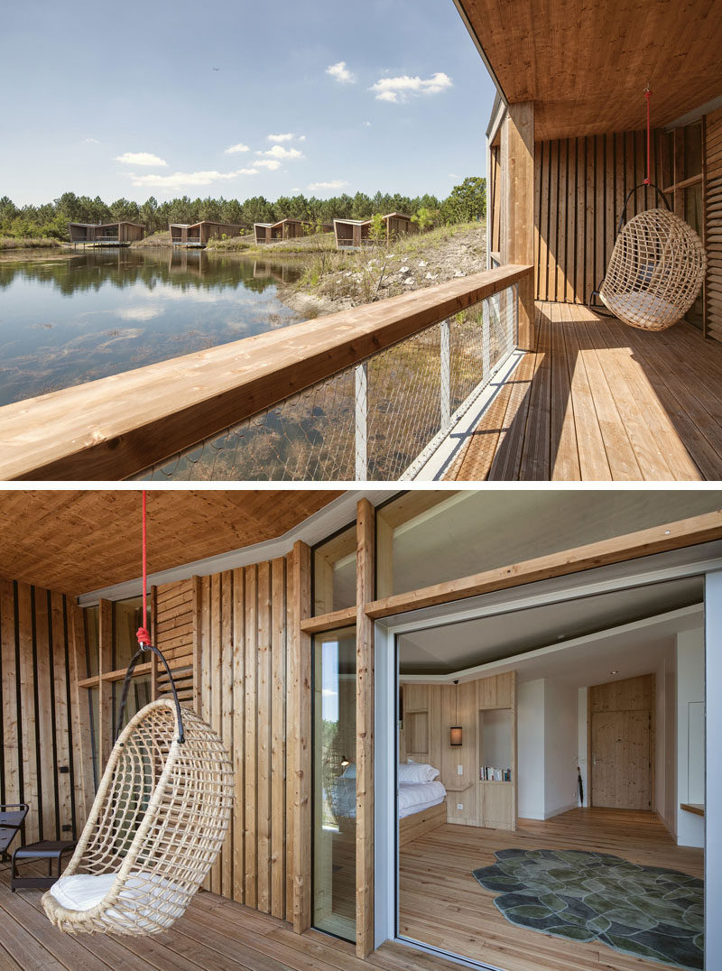 This French eco-resort has private villas with views of a lake.