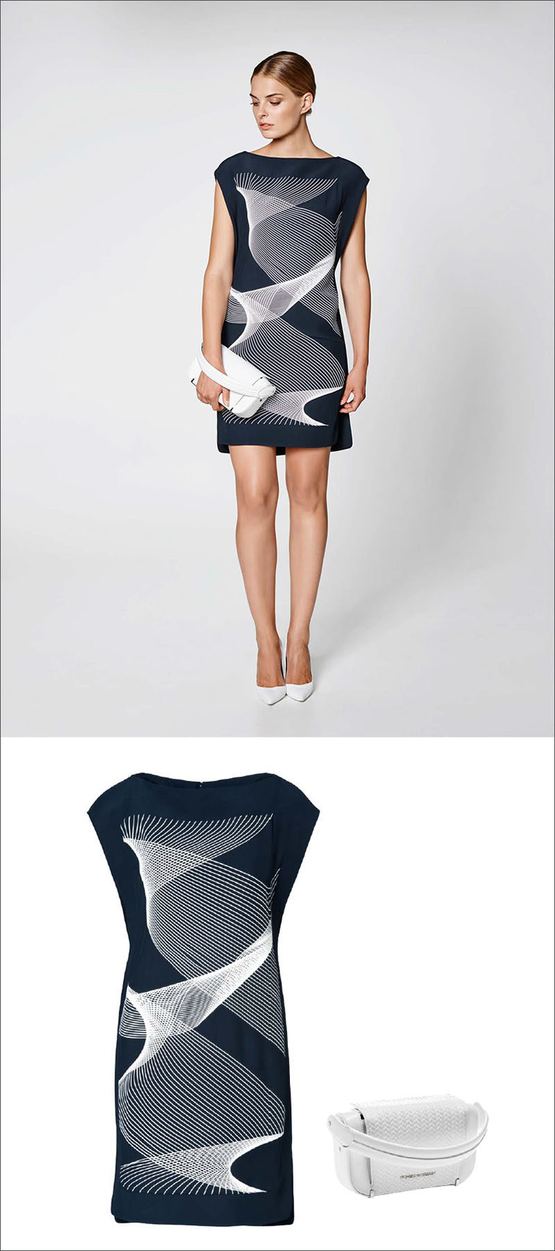 Women's Fashion Ideas - 12 Womens Outfits From Porsche Design's 2017 Spring/Summer Collection // This navy and white dress with a wave-like pattern has been paired with a simple white bag to create a sophisticated spring or summer outfit.