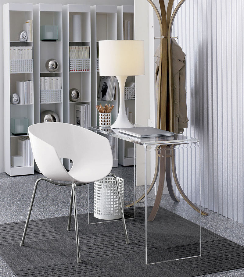 5 Ways To Use Acrylic Decor Throughout Your House // Home Office - If you only have a little bit of space to create your home office an acrylic desk is a great solution as it will help keep your space feeling and looking open but give you the functionality of a full desk.