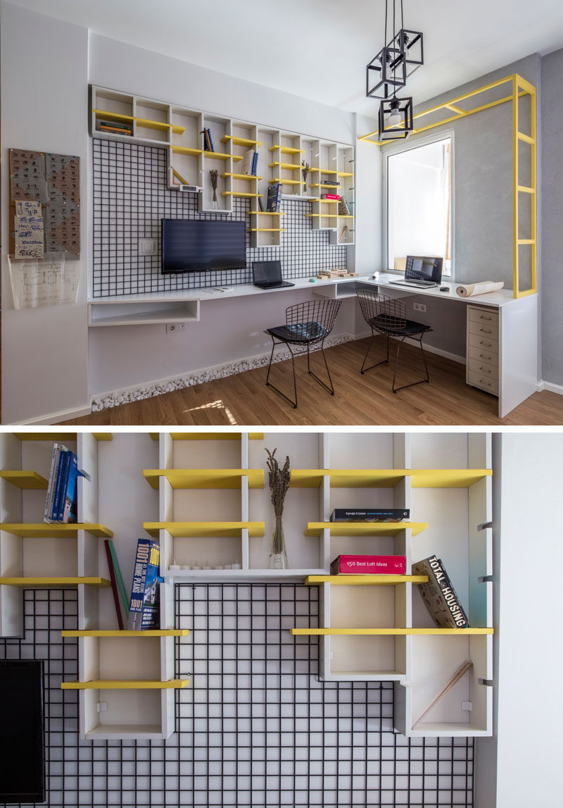 In this home office, one of the corners of the room has been transformed into the work area, with bright yellow continuing shelving adding a pop of color.