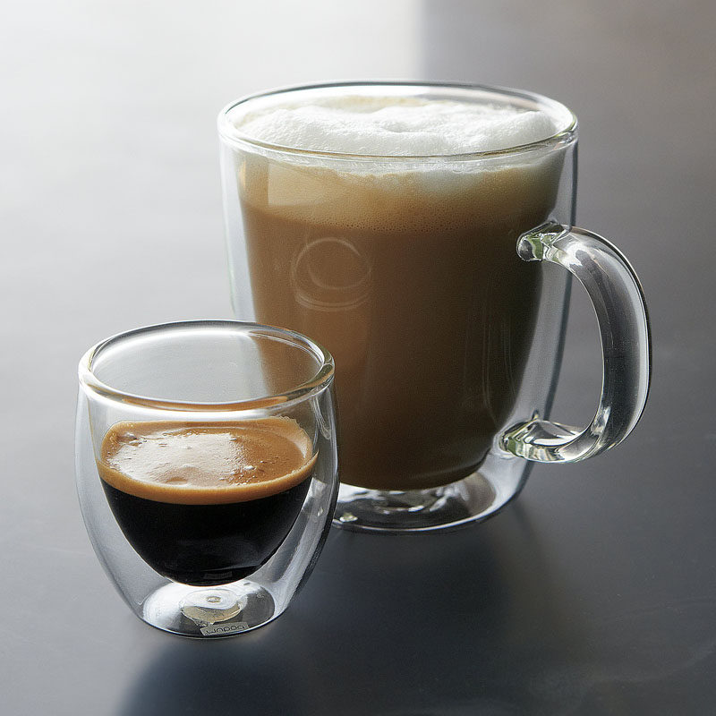 13 Modern Gift Ideas For Coffee Connoisseurs // Double insulated glass coffee and espresso cups keep your drink warm make it fun to watch as milk swirls through the dark coffee.