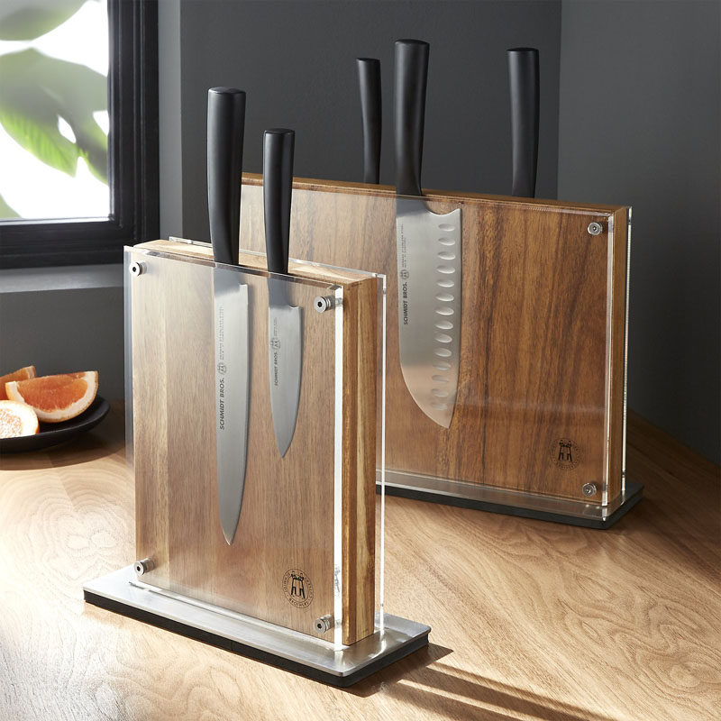 5 Ways to Use Acrylic Decor Throughout Your House // Kitchen - This acrylic knife block is double sided to give you even more knife storage and keeps the blades safely out of drawers.