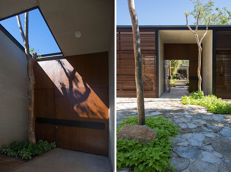 When arriving at this home, a large steel door greets you and gives you access to an inner courtyard before reaching the main house.