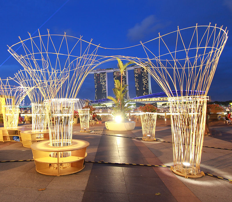 This light art installation is named the Lightscape Pavilion and has been designed by MisoSoupDesign