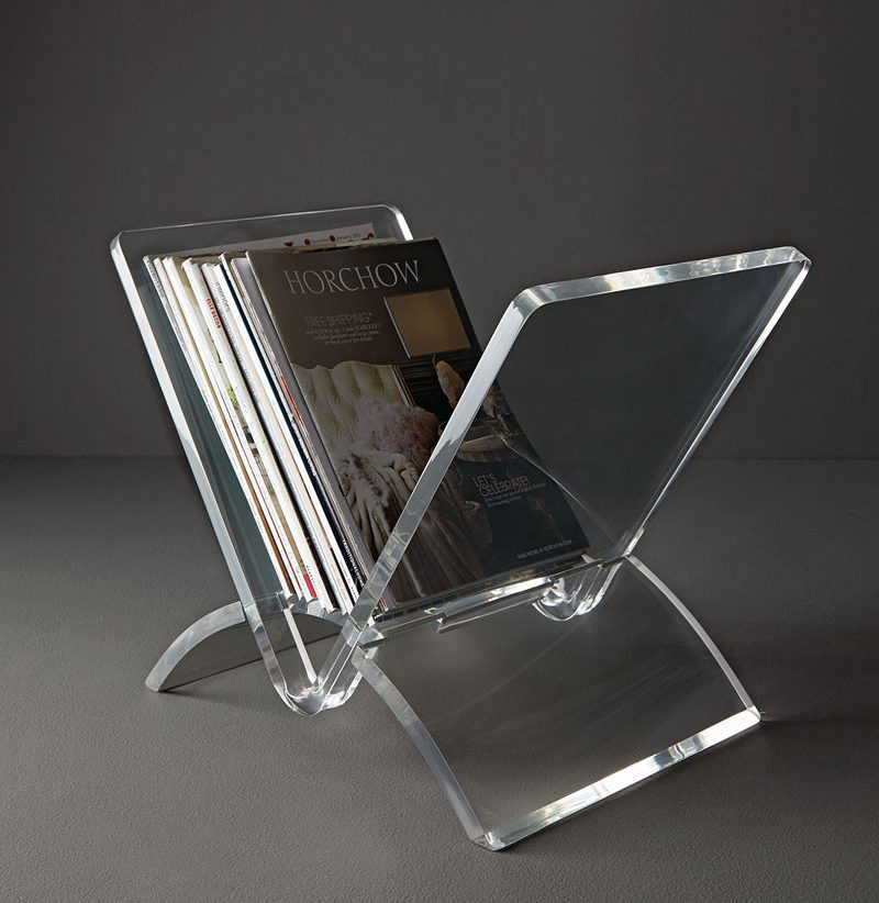 5 Ways To Use Acrylic Decor Throughout Your House // Living Room - Keep your magazines organized in this acrylic magazine rack that makes it easy to see all your issues at a quick glance.