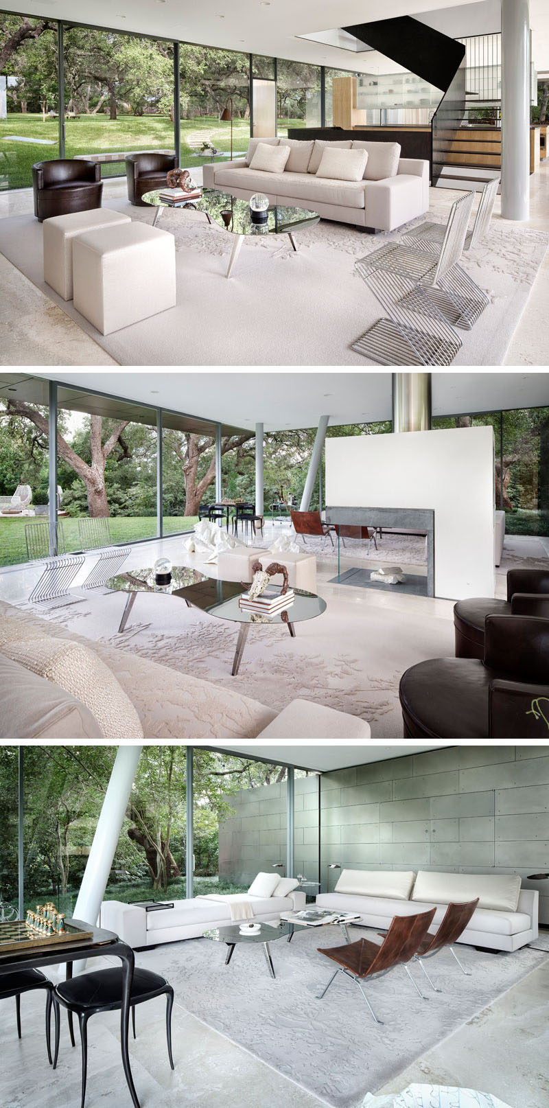 In this modern house there's a double-sided fireplace that can be enjoyed from two different sitting areas.