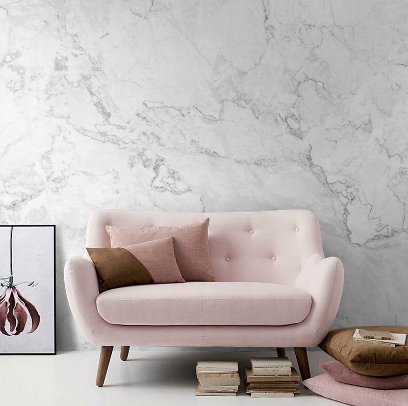 8 Examples Of Modern Marble Wallpaper // This subtle grey and white removable marble wallpaper matches any decor style and can be taken down easily if you decide the look is no longer for you.