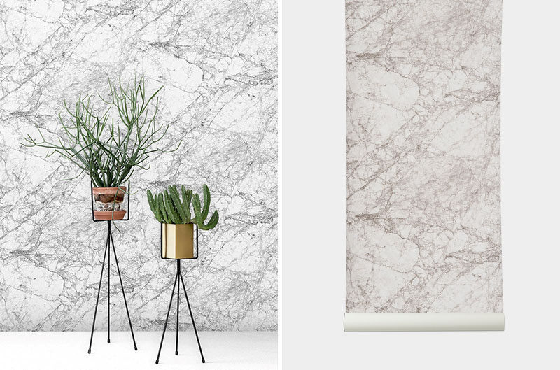 8 Examples Of Modern Marble Wallpaper // This white, grey, and black marble wallpaper turns a boring wall into a statement one.