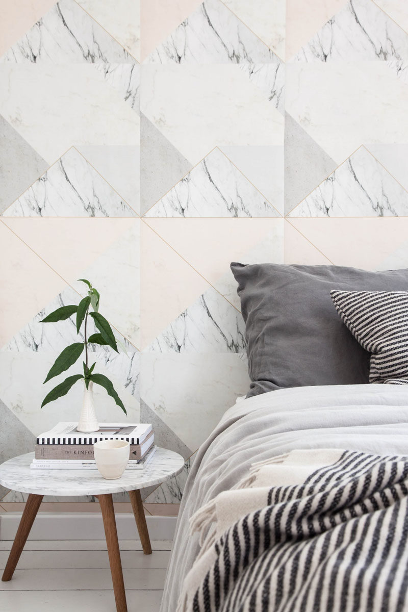 8 Examples Of Modern Marble Wallpaper // Pair your marble with some subtle triangles to break up the look and inject some color into your space.