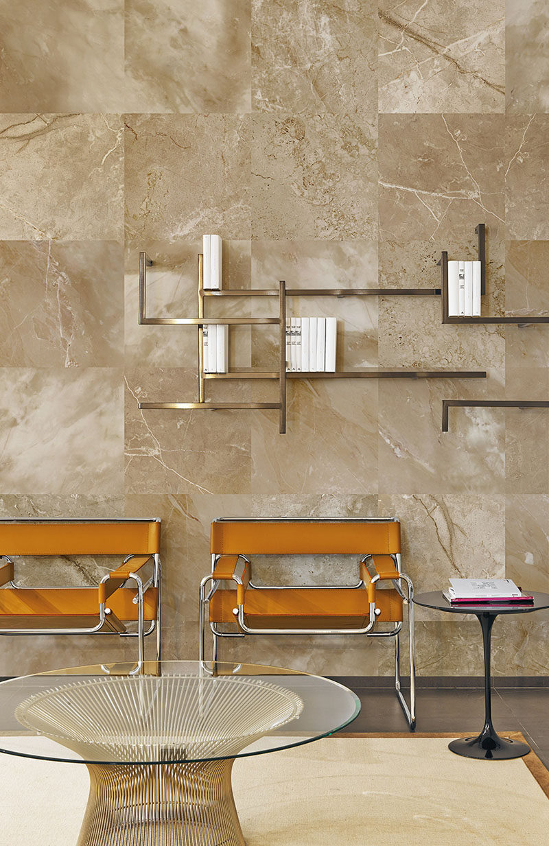 8 Examples Of Modern Marble Wallpaper // This neutral brown marble wallpaper creates a tiled marble look that can easily be mistaken for the real thing.