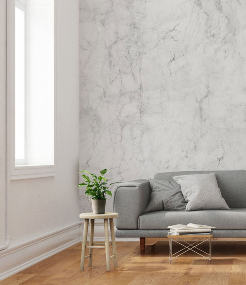 8 Examples Of Modern Marble Wallpaper // The subtle grey veins in this marble wallpaper help it tie together the grey elements in an interior.