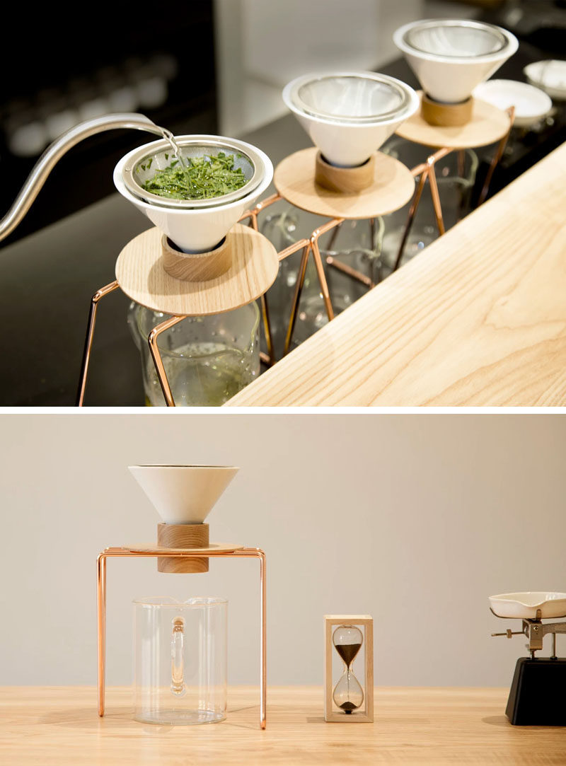 Constructed from a copper base, a ceramic dripper, and a wooden holder, the simple tea makers have been designed to brew the perfect cup of green tea every time by allowing the tea leaves to sit in the water for just the right amount of time.