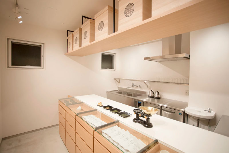 At the back of this minimalist tea shop is a small storage area that doubles as the food prep space for the few offerings they serve alongside their wide selection of various green teas.