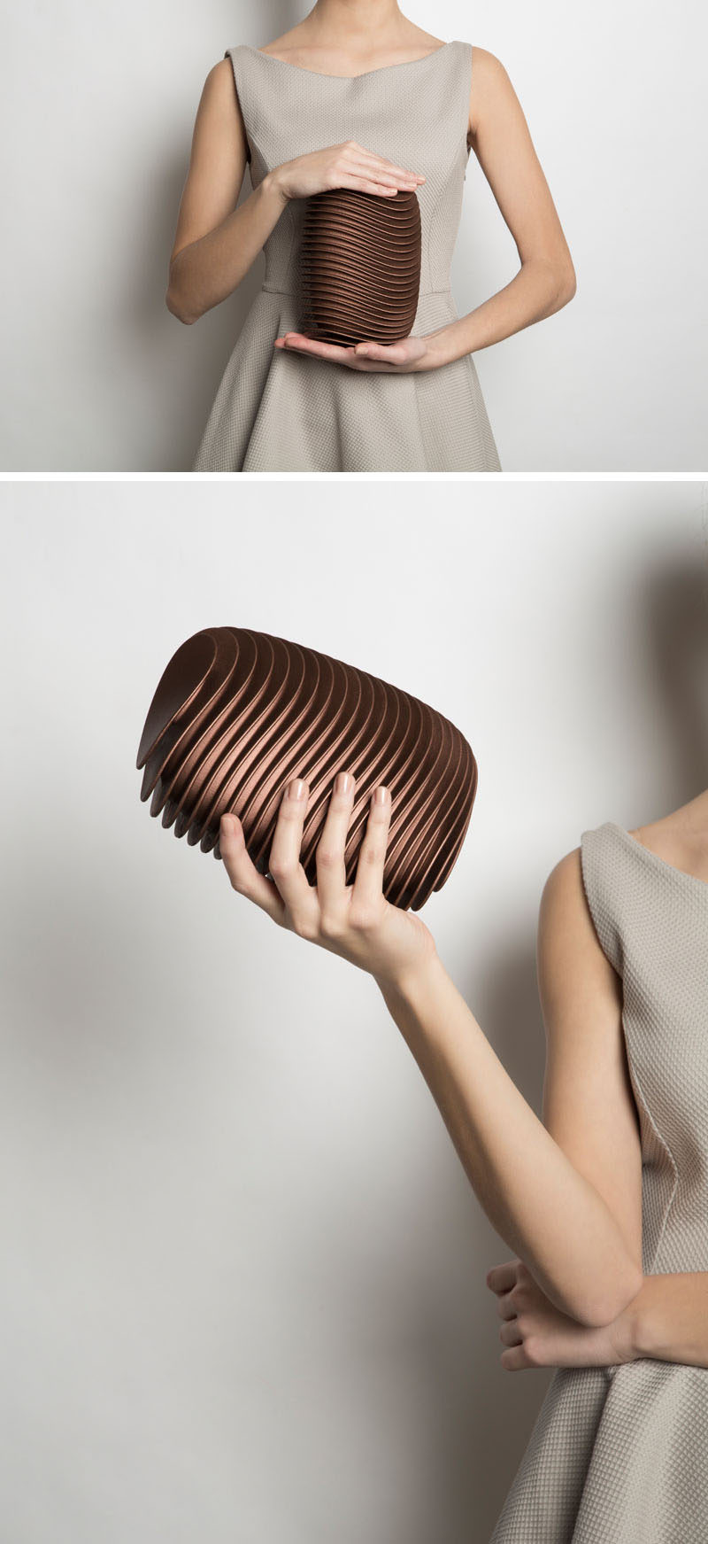 Rounded, curved layers of 3D printed nylon make up the design of this modern clutch and mimic the layout of the bending and parallel streets that make up Bern, the Swiss capital that inspired the design.