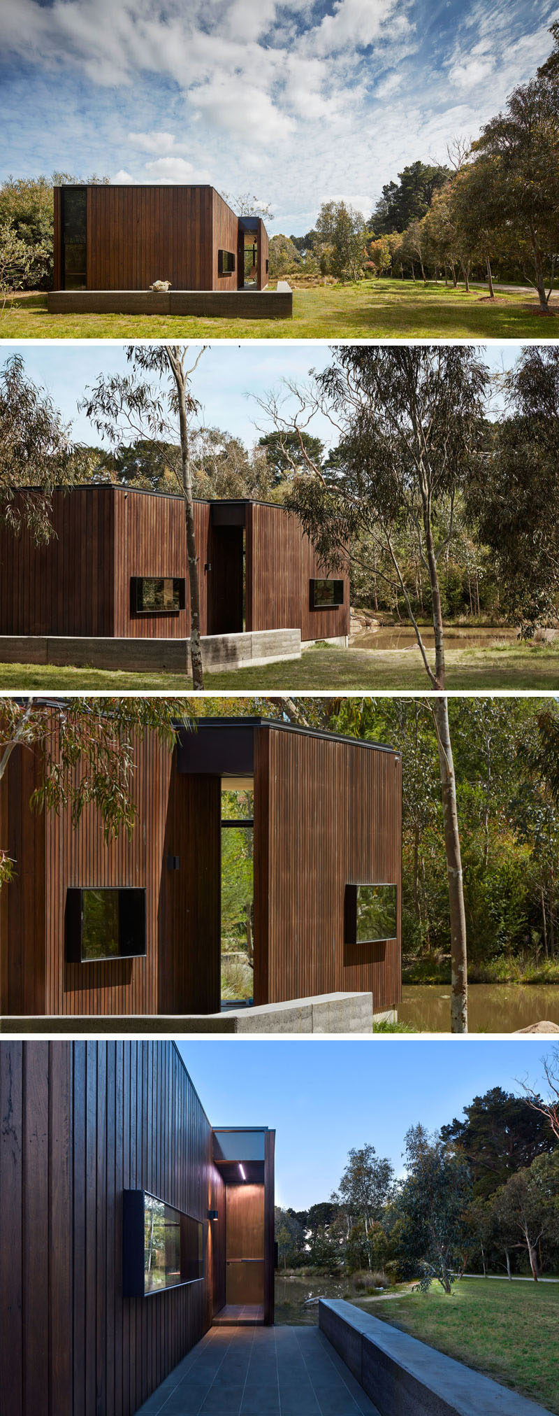 A low wall guides you from the grassy yard to the entrance of this wood covered backyard studio.
