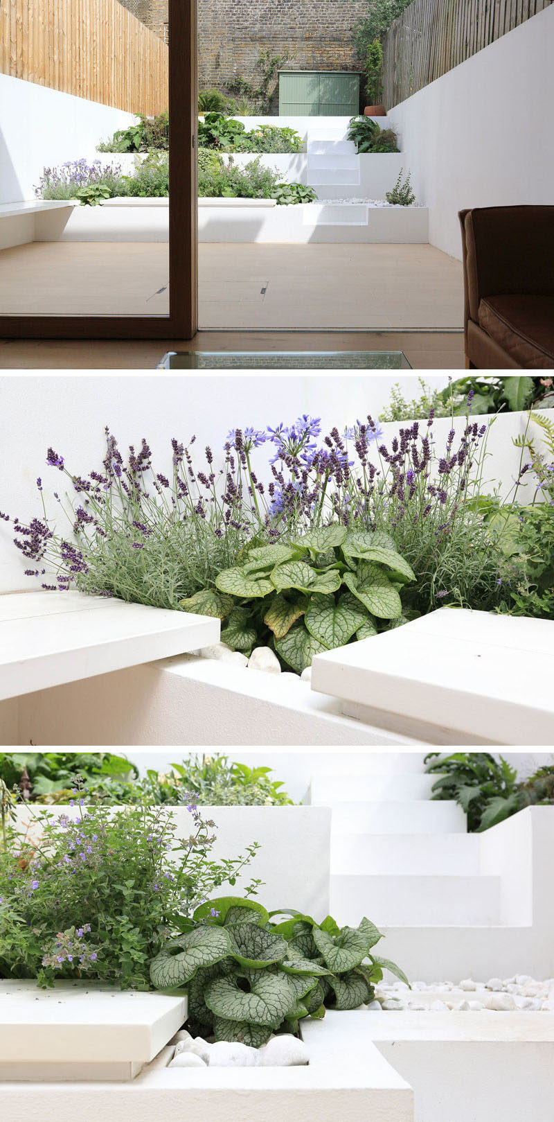 New terraced planters were installed to create a modern looking outdoor entertaining area for this home. Steps were also included in the design of the terrace to provide access to the top of the garden.