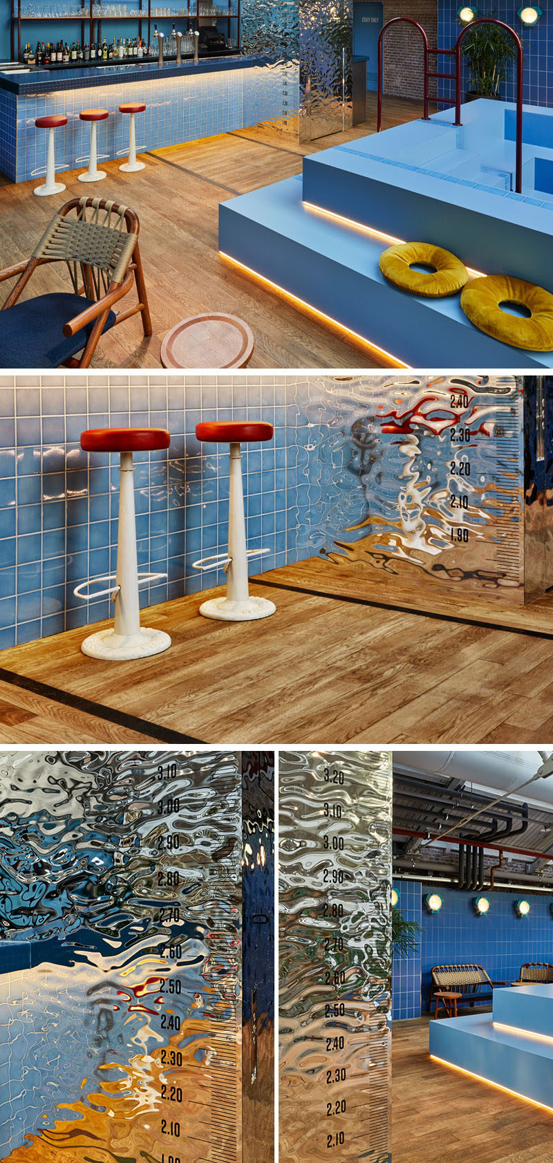 This bar area with a 'fake' pool, is made out of blue rubber and a strip of blue tiles, that are also featured on the bar. A wavy mirror element covers the bar lift, and pool signs and graphics reference swimming pool rules.