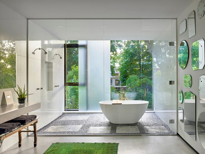 Floor To Ceiling Glass And Vintage Mirrors In Wooded Toronto Bathroom 800x600 Roomporn