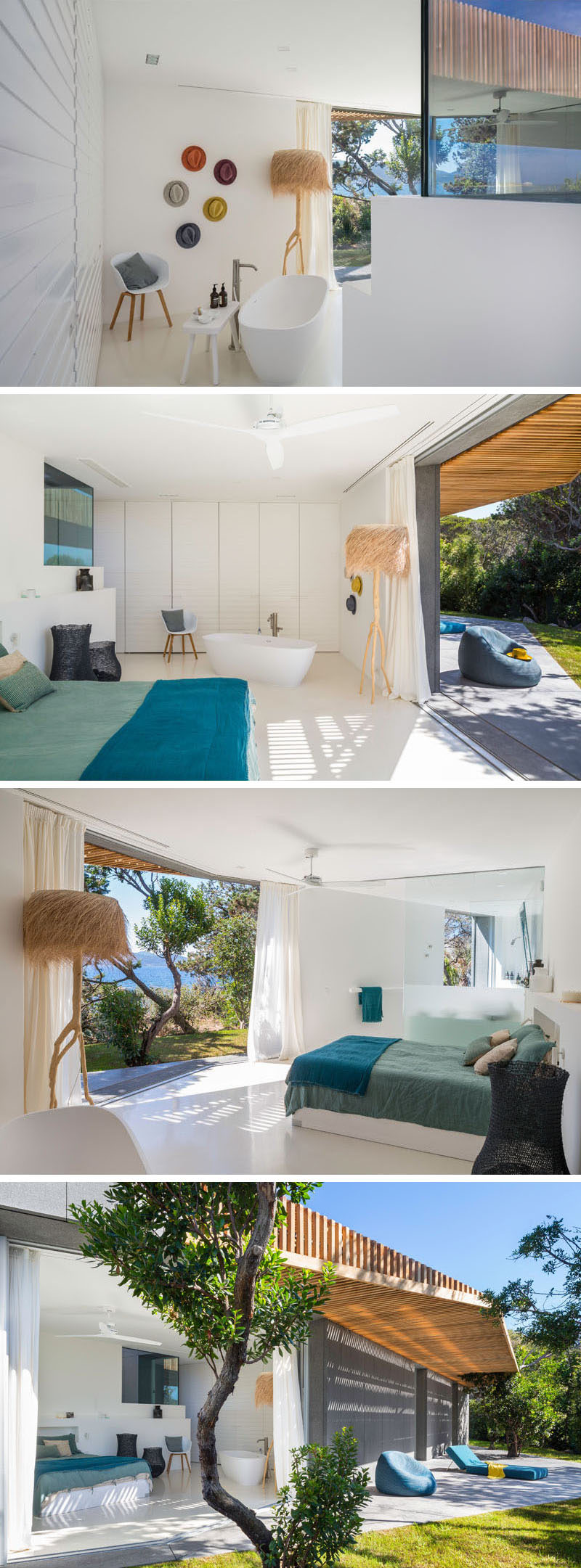 When entering this master bedroom, you are first greeted by a standalone bathtub and then around the corner, you see the bed. The bedroom, as with some of the other bedrooms, open up to the outdoors.
