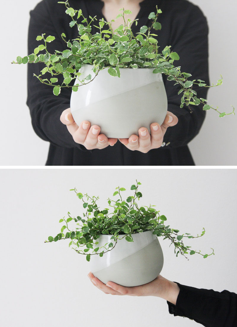 Home Decor Ideas - 6 Ways To Include Ceramic In Your Interior // This large table top ceramic planter has both matte and glossy finishes on it to give it a textured yet smooth look.