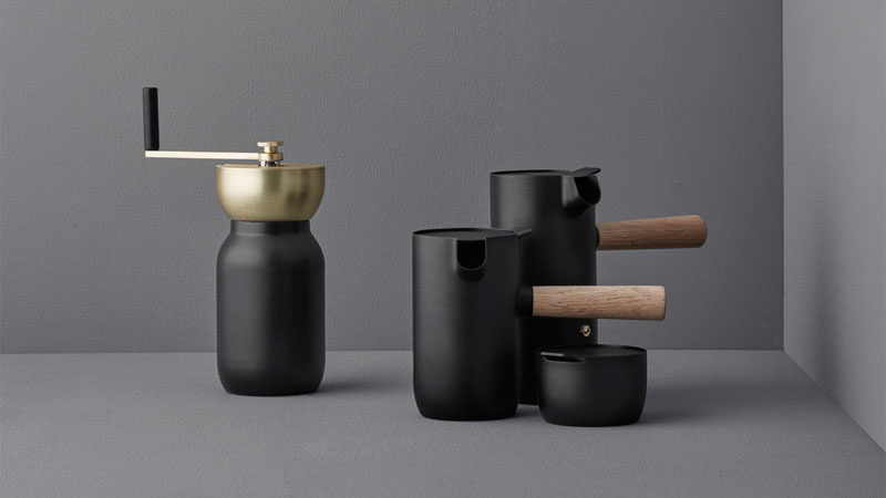 13 Modern Gift Ideas For Coffee Connoisseurs // This matte black and gold coffee grinder will help create the perfect cup of coffee by providing freshly ground beans for every cup.