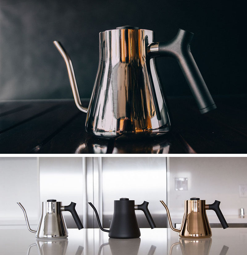 13 Modern Gift Ideas For Coffee Connoisseurs // These sleek kettles have a super thin spout that makes sure the water doesn't come pouring out too quickly to ensure you get the perfect pour over every time.
