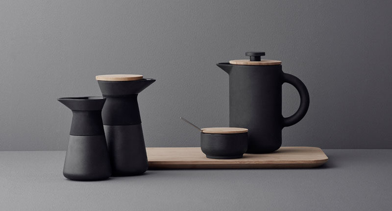 17 Modern Coffee Makers That You'll Want To Show Off // With double insulation, this simple matte black French Press with a wooden lid, will keep your coffee warm well into your second cup.