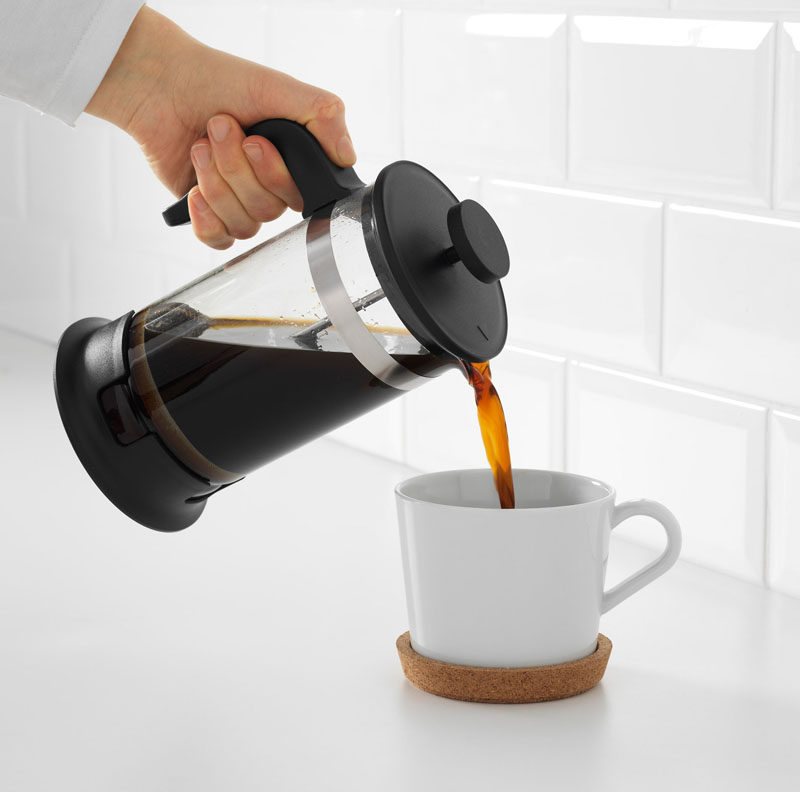 17 Modern Coffee Makers That You'll Want To Show Off // The thick rim on the bottom of this simple French press ensures you won't accidentally knock it over.