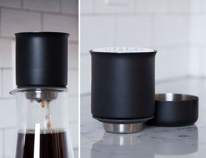 17 Modern Coffee Makers That You'll Want To Show Off // Perfect for making coffee on the go, this little pour over dripper fits on top of mugs to make a tasty cup with little clean up.