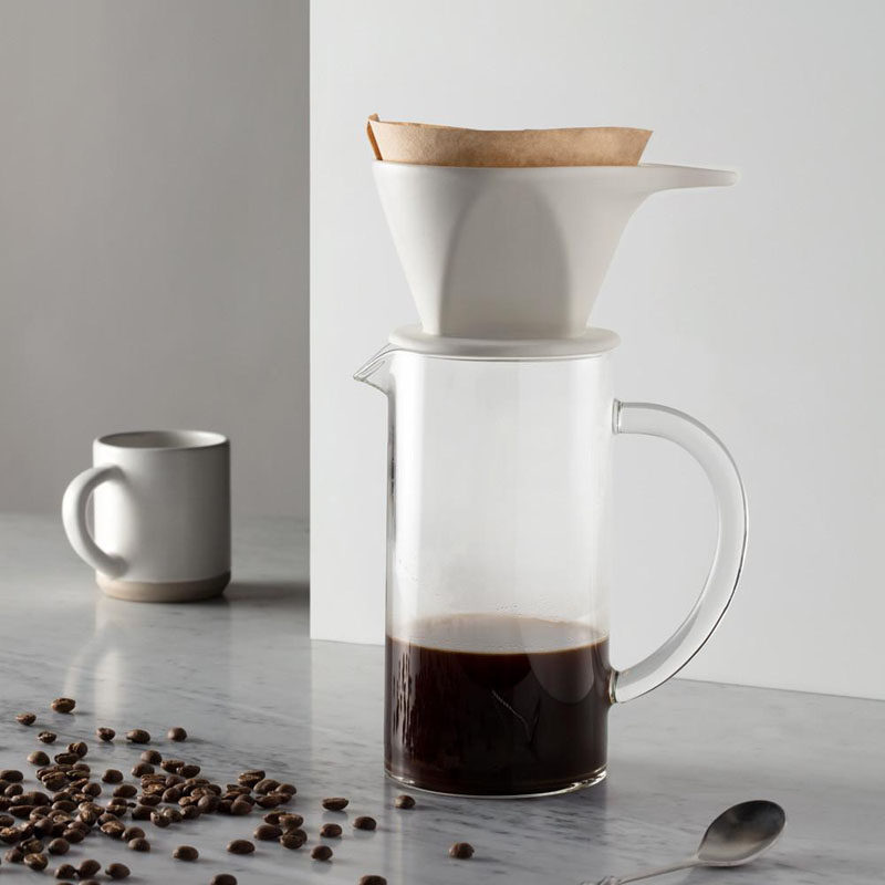 17 Modern Coffee Makers That You'll Want To Show Off // The matte white finish on this ceramic pour over dripper gives it a minimalist, modern look.