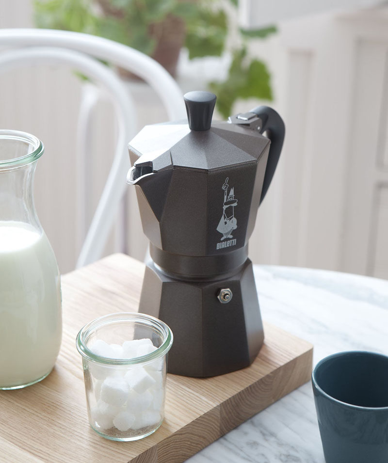 17 Modern Coffee Makers That You'll Want To Show Off // This moka pot coffee maker keeps the traditional design but puts a modern twist on it with the matte black finish.