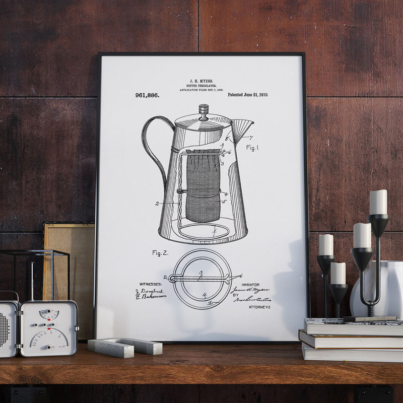 15 Coffee Posters To Hang Above Your Coffee Station // An art print of the coffee percolator patent will show everyone just how much coffee means to you. #CoffeeStation #CoffeePoster #CoffeeWallArt #CoffeeArt