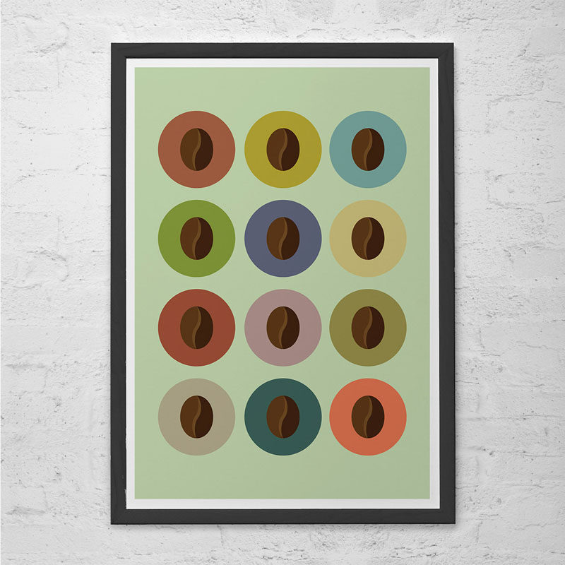 15 Coffee Posters To Hang Above Your Coffee Station // Give coffee beans the respect they deserve with this simple coffee bean print. #CoffeeStation #CoffeePoster #CoffeeWallArt #CoffeeArt