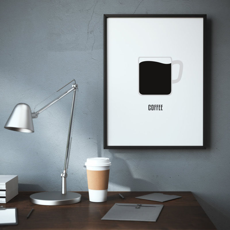 15 Coffee Posters To Hang Above Your Coffee Station // This minimal coffee poster keeps things simple, just like a cup of coffee. #CoffeeStation #CoffeePoster #CoffeeWallArt #CoffeeArt