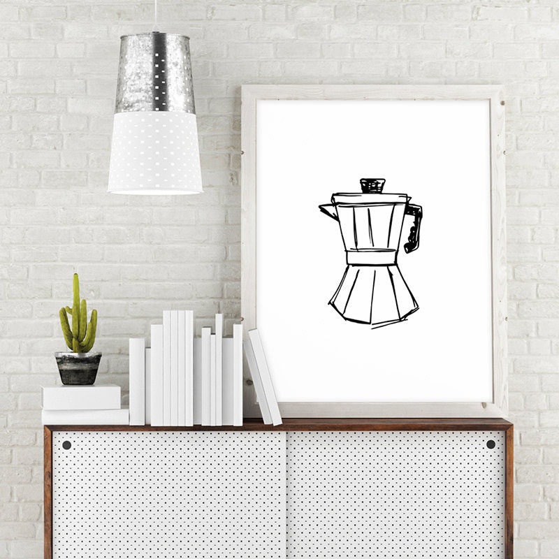 15 Coffee Posters To Hang Above Your Coffee Station // An illustration of a Moka pot expresses your love and appreciation for the beverage that pours out of it. #CoffeeStation #CoffeePoster #CoffeeWallArt #CoffeeArt