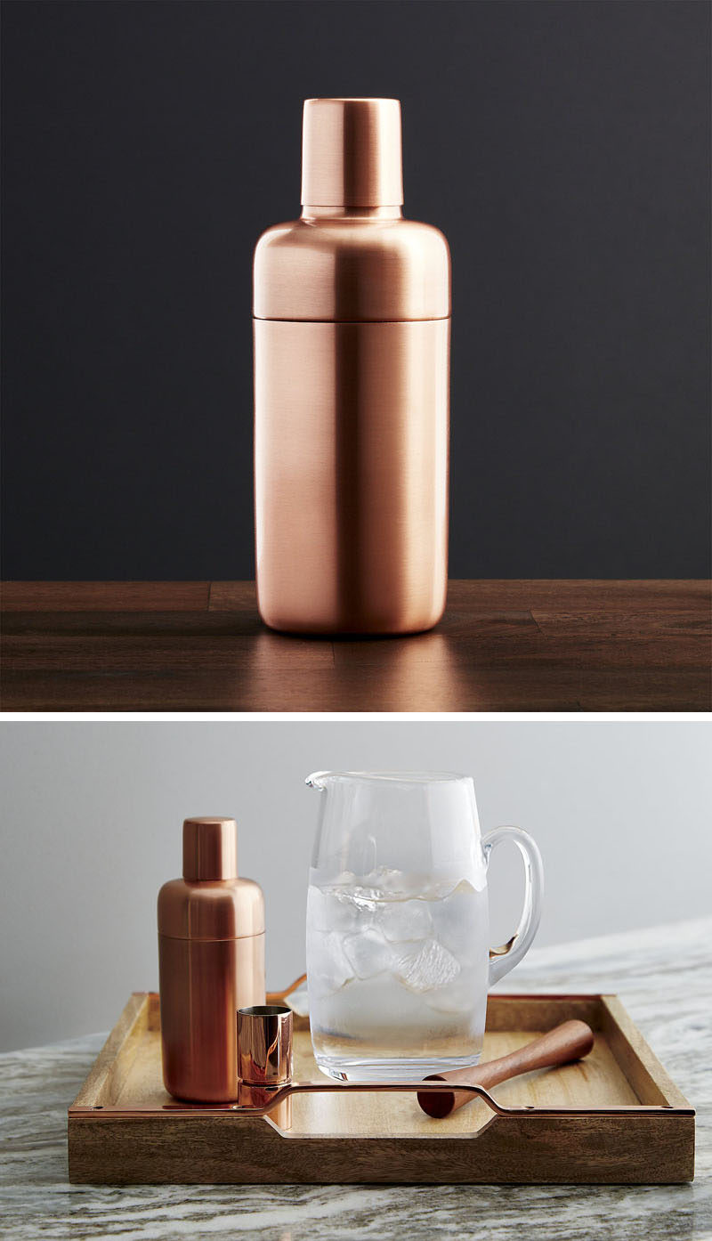Kitchen Decor Ideas - 12 Ways To Add Copper To Your Kitchen // You and your guests will want to take all of your drinks shaken, not stirred with this minimalist copper martini shaker.