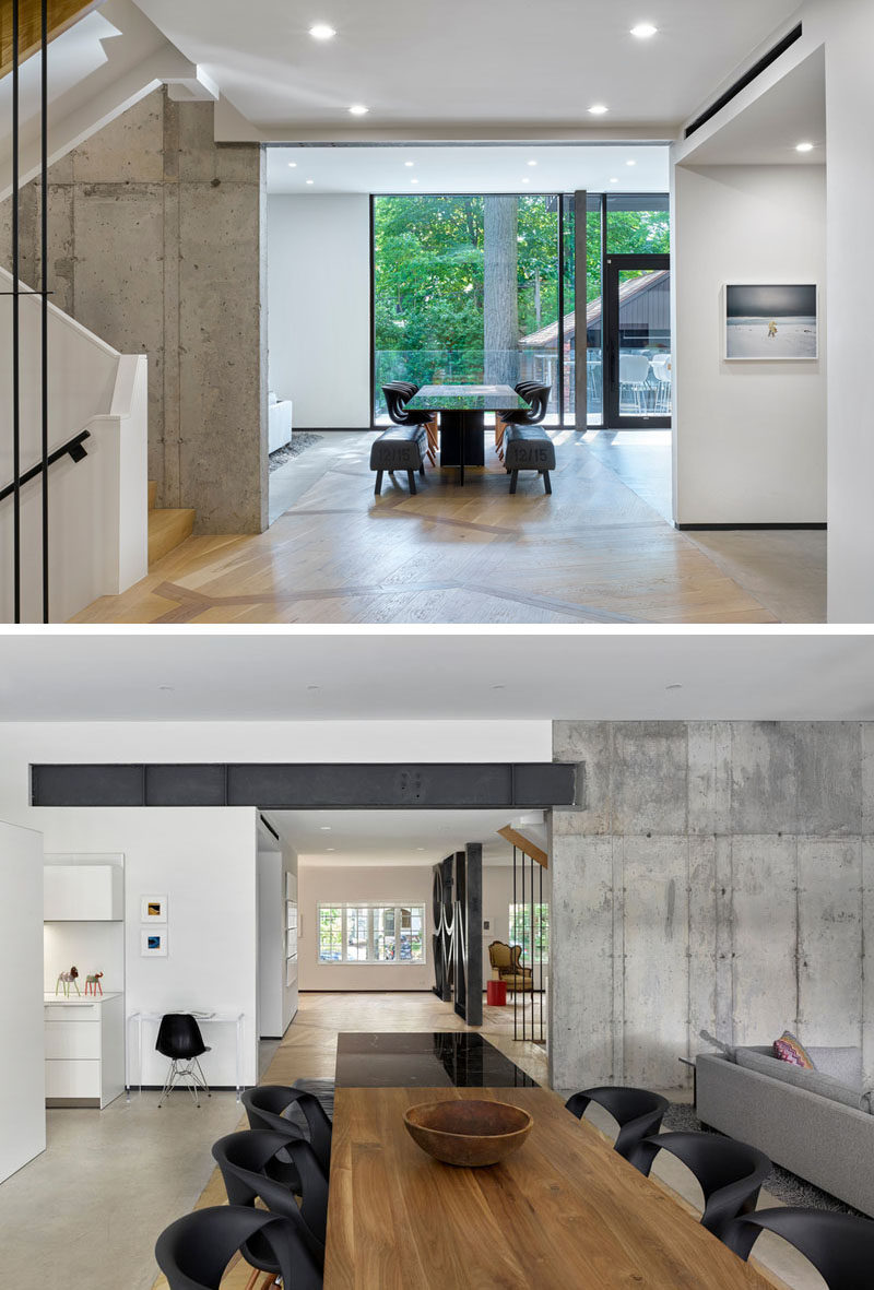 In this home, traditional wood flooring flows from the heritage part of the house through to the dining room and the new contemporary extension. Either side of the wood flooring is flanked by polished concrete flooring.