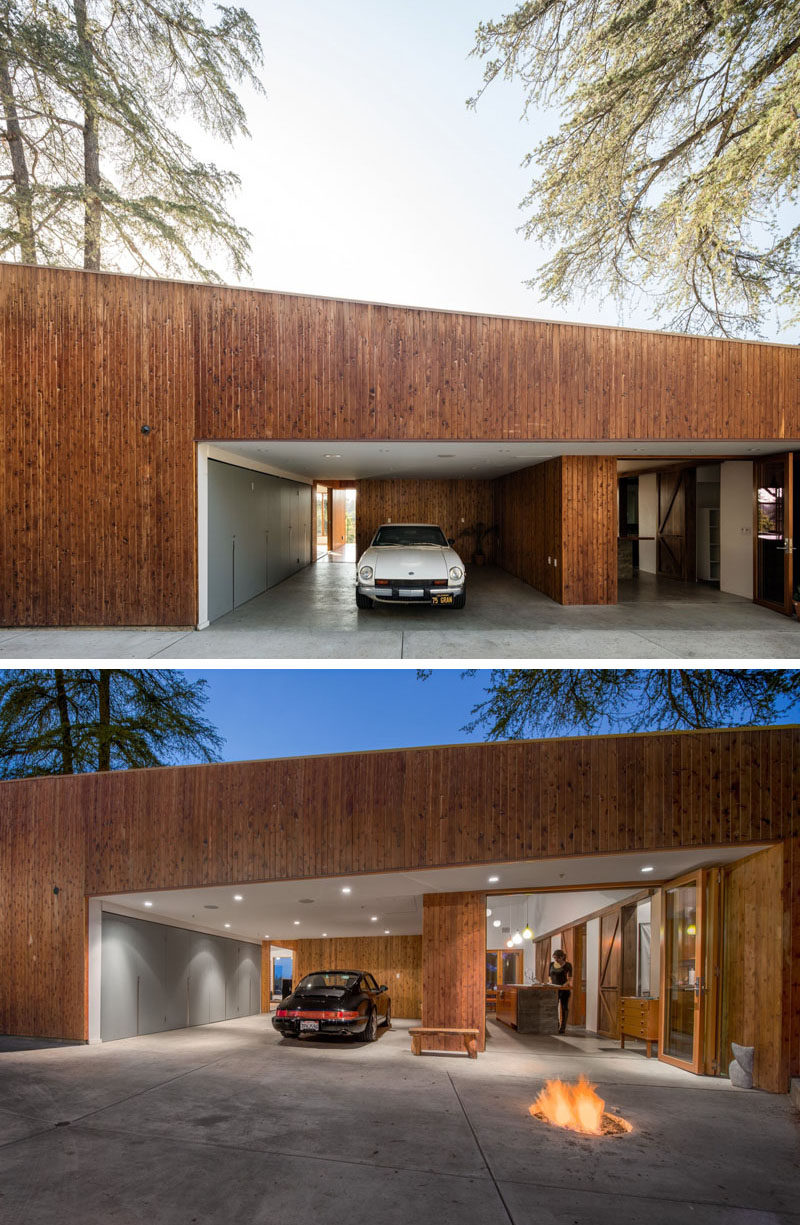 This hillside house in los angeles was built around a tree for Garage saint just