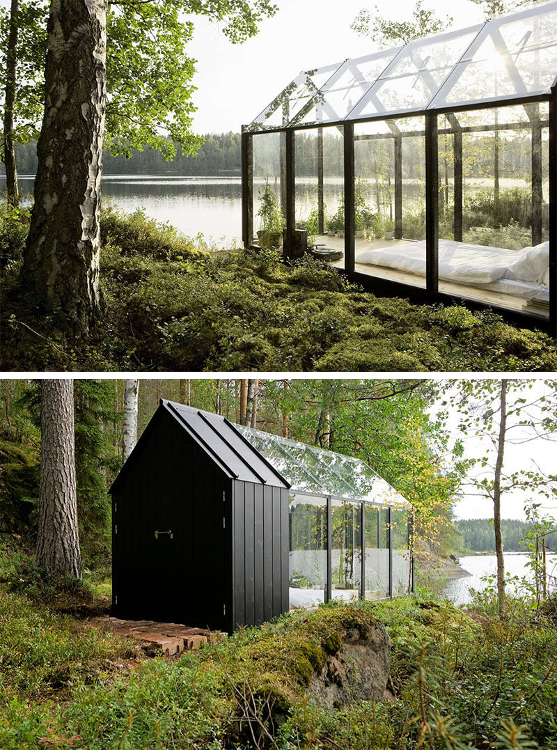 ^ his glass enclosed bedroom beside a lake also functions as a ...
