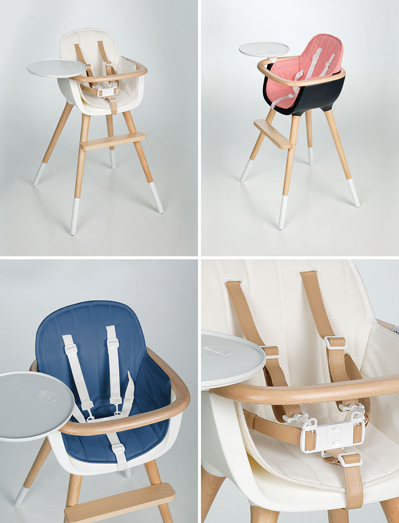 14 Modern High Chairs For Children // The simple design of this high chair makes it the perfect addition to the kitchen table and the wide number of ways you can customize it allows it to fit into any interior.