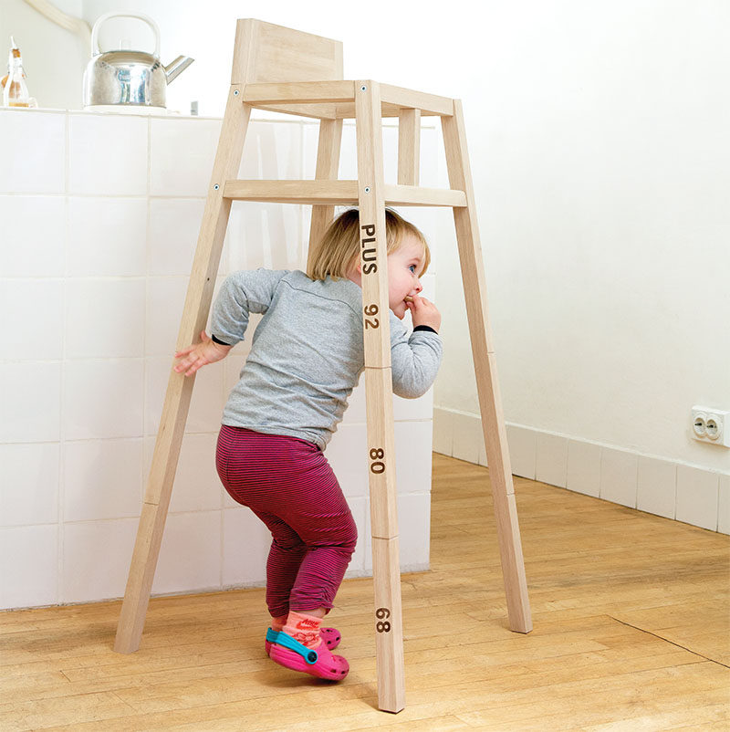 14 Modern High Chairs For Children // This high chair is designed to shrink as the child grows - the notches on the legs act as indications of where to cut the legs as your child gets older, letting their chair stick with them even when they've outgrown the high chair age.